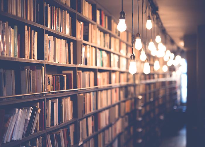 lightbulbs-in-a-library-hallway